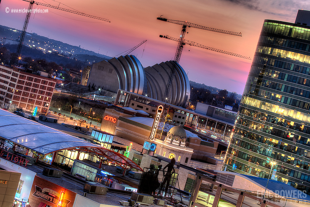 Downtown Kansas City at sunset with the Kauffman Center consruction in November 2010.