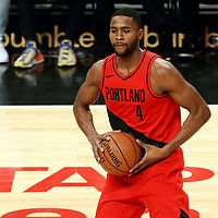 18 March 2018: Portland Trail Blazers forward Maurice Harkless (4) passes the ball during the Portland Trail Blazers 122109 victory over the LA Clippers, at the Staples Center, Los Angeles, California, USA.