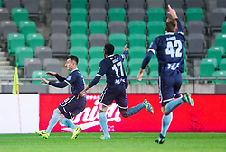 Rifet Kapic of Gorica, Bede Amarachi Osuji and Matija Boben of Gorica celebrate after scoring first goal during football match between NK Olimpija Ljubljana and ND Gorica in Round #26 of Prva liga Telekom Slovenije 2016/17, on March 29, 2017 in SRC Stozice, Ljubljana, Slovenia. Photo by Vid Ponikvar / Sportida