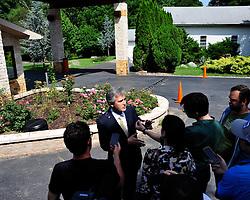 Y. Alp Aslandogan, a spokesperson for Fetullah Gulen speaks to members of the media outside the clerics Pocono Mountain compound Saturday, July 16th, 2016 in Saylorsburg, Pennsylvania.