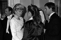 1987: The Princess of Wales (left), wearing the Queen Mary tiara,  chats to her brother-in-law and sister-in-law, the Duke and Duchess of York, at London's Claridge's Hotel when they attended a banquet given by King Fahd of Saudi Arabia at the end of his state visit to Britain.