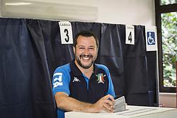 Italy, Milan - May 26, 2019.Italian Interior Minister and Deputy Premier Matteo Salvini, of the Northern League, casts his ballot for the European Parliament elections (Credit Image: © De Grandis/Fotogramma/Ropi via ZUMA Press)