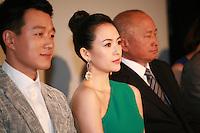 Dawei Tong,  Zhang Ziyi, John Woo, Press Conference for John Woo's forthcoming film The Crossing, Saturday 17th May 2014, Cannes, France.