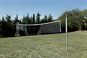 broken sports net at an outdoor field