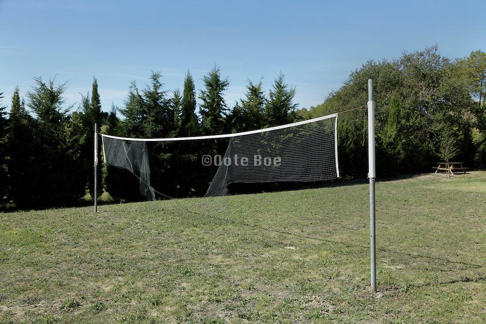 broken sports net at an outdoor field