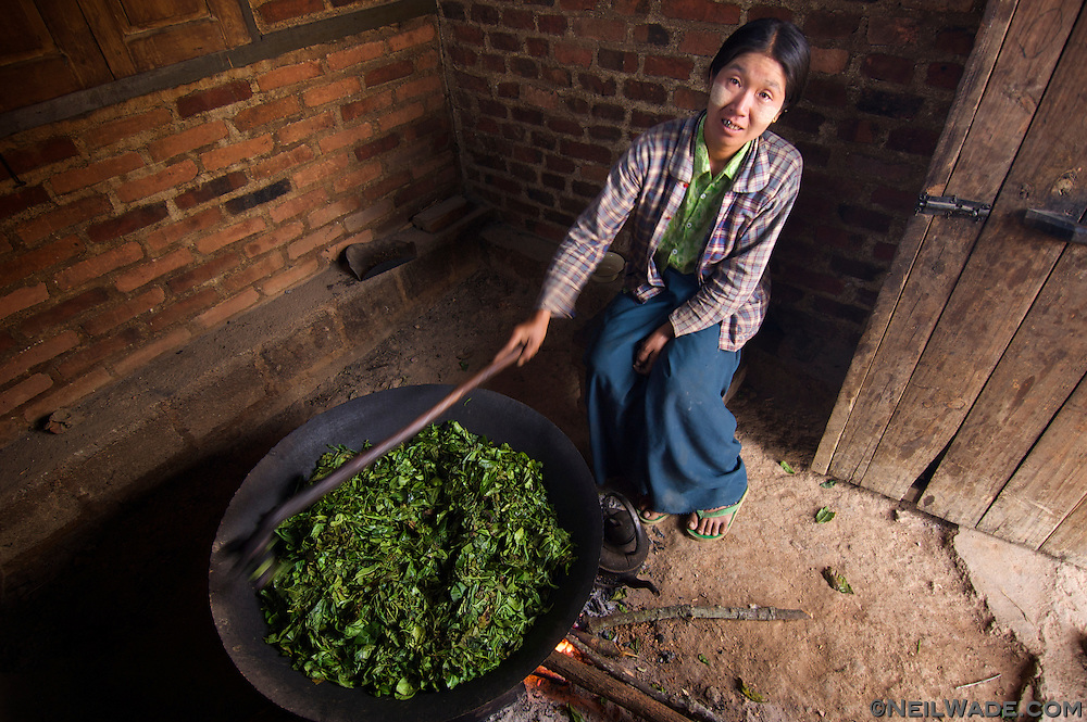 W woman in the hills near Kalaw, Burma cooks tea leaves to add to the evening's dinner.