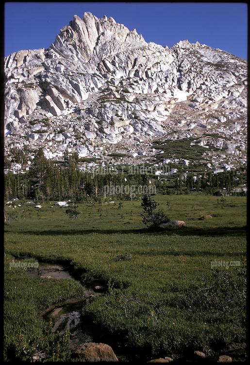 Ragged Peak, Young Lakes, Yosemite National Park. View shot on Kodachrome II, Nikon Ftn camera, Nikkor 35mm f/2 lens 60th f/8, 31 July 1973