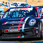 SEPT 16, 2018 Sonoma, CA, U.S.A : # 71 David Kolkmann take 3rd place with a best lap time 1:38:833 in turn 9 S curve during the GoPro Grand Prix of Sonoma Porsche GT3 Race 2 at Sonoma Raceway Sonoma, CA  Thurman James