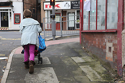 Mother out walking with toddler in buggy, back view