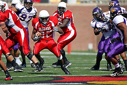 29 September 2007:  Geno Blow cuts and slashes his way upfield. In action between the Northern Iowa Panthers and the Illinois State Redbirds, the Panthers chewed up the Redbirds by a score of 23 - 13. Game action commenced at Hancock Stadium on the campus of Illinois State University in Normal Illinois..