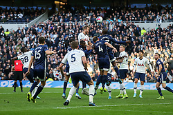 Harry Kane of Tottenham Hotspur and Christian Kabasele of Watford challenge for a header - Mandatory by-line: Arron Gent/JMP - 19/10/2019 - FOOTBALL - Tottenham Hotspur Stadium - London, England - Tottenham Hotspur v Watford - Premier League