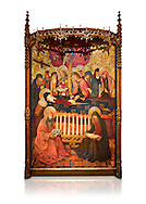 Gothic altarpiece of the Dormition of the Madonna (Dormicio de la Mare de Dieu) by Pere Garcia de Benavarri, circa 1460-1465, tempera and gold leaf on wood.  National Museum of Catalan Art, Barcelona, Spain, inv no: MNAC  64040. Against a white background. . .<br /> <br /> If you prefer you can also buy from our ALAMY PHOTO LIBRARY  Collection visit : https://www.alamy.com/portfolio/paul-williams-funkystock/gothic-art-antiquities.html  Type -     MANAC    - into the LOWER SEARCH WITHIN GALLERY box. Refine search by adding background colour, place, museum etc<br /> <br /> Visit our MEDIEVAL GOTHIC ART PHOTO COLLECTIONS for more   photos  to download or buy as prints https://funkystock.photoshelter.com/gallery-collection/Medieval-Gothic-Art-Antiquities-Historic-Sites-Pictures-Images-of/C0000gZ8POl_DCqE