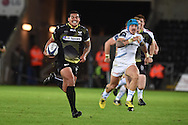 Josh Matavesi of the Ospreys races in from his own half to score a break away try late in 2nd half. European Rugby Champions Cup match, Ospreys v Exeter Chiefs at the Liberty Stadium in Swansea, South Wales on Sunday 15th November 2015. pic by Andrew Orchard, Andrew Orchard sports photography.
