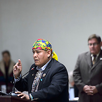 Council member Otto Tso, nominated to be Speaker of Navajo Nation Council by fellow council member Herman Daniels, gives his speech on why members should vote for him Monday in Window Rock during the winter session of the Navajo Nation Council.