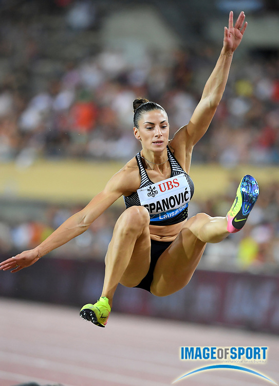 Aug 25, 2016; Lausanne, Switzerland; Ivana Spanovic (SRB) wins the women's long jump at 22-5 (6.83m) during the 2016 Athletissima in an IAAF Diamond League meeting at Stade Olympique de la Pontaise. Photo by Jiro Mochizuki