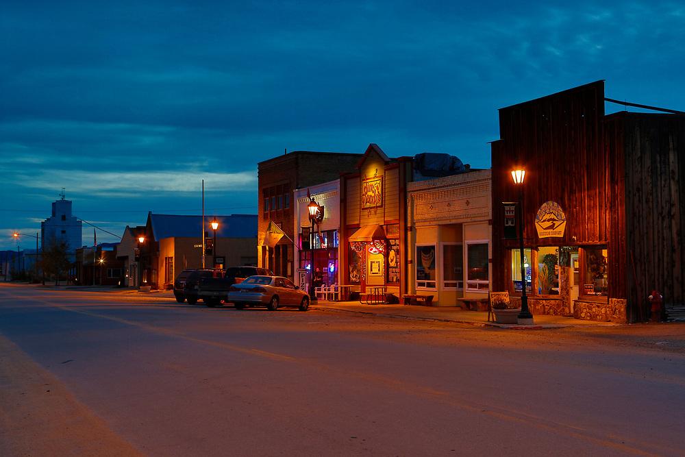 Licensing - Open Edition Prints<br /> Rural Main Street in Fairfield Idaho on the Camas Prairie in Southwest Idaho night shot