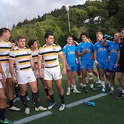 BERKELEY, CA - NOVEMBER 08:  California players laugh with UCLA players after winning the PAC Rugby 7's Championship between UCLA and California at Witter Rugby Field at the University of California on November 8, 2015 in Berkeley, California. California won the match by a score of 17-5. (Photo by Alex Menendez/Getty Images) *** Local Caption ***