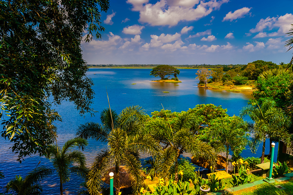 View of Tissa Lake from Lake Wind Hotel, Tissamaharama, Southern Province, Sri Lanka.