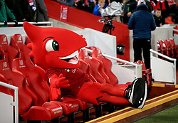 Liverpool mascot Mighty Red sitting in the dugout before the Premier League match at Anfield, Liverpool.