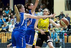 Rebeka Abramovic of Athlete Celje during basketball match between ZKK Athlete Celje and ZKK Triglav in Finals of 1. SKL for Women 2014/15, on April 20, 2015 in Gimnazija Celje Center, Celje, Slovenia. Photo by Vid Ponikvar / Sportida