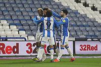Huddersfield Town's Fraizer Campbell celebrates scoring his side's first goal <br /> <br /> Photographer Mick Walker/CameraSport<br /> <br /> The EFL Sky Bet Championship - Huddersfield Town v Birmingham City - Tuesday 2nd March 2021 - The John Smith's Stadium - Huddersfield<br /> <br /> World Copyright © 2020 CameraSport. All rights reserved. 43 Linden Ave. Countesthorpe. Leicester. England. LE8 5PG - Tel: +44 (0) 116 277 4147 - admin@camerasport.com - www.camerasport.com
