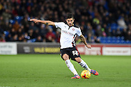 Emmanuel Ledesma of Rotherham Utd takes a free-kick at goal. Skybet football league championship match, Cardiff city v Rotherham Utd at the Cardiff city stadium in Cardiff, South Wales on Saturday 6th December 2014<br /> pic by Andrew Orchard, Andrew Orchard sports photography.
