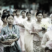 Bagan (Pagan) , Myanmar (Burma) - May 2006<br /> Buddhist procession in the streets of Pagan.<br /> Photo: Ezequiel Scagnetti