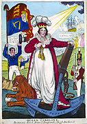 Queen Caroline Britain's best hope!!! England's sheet anchor. On the anchor is written Magna Carter, The People, Bill of Rights, Constitution. Caroline of Brunswick-Wolgenbuttel (1768-1811), consort of George IV of Great Britain and Ireland. Hand-coloured engraving 1820.