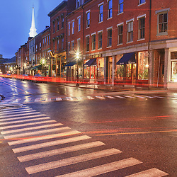 A crosswalk on Market Street in Portsmouth, New Hampshire.