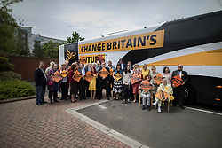 © Licensed to London News Pictures. 16/05/2017. Portsmouth, UK. Liberal Democrat activists wait for the arrival of party leader Tim Farron outside the Mary Rose Academy special needs school during a visit. The Lib Dems have today announced plans for education and business during campaigning for the general election on June 8, 2017.  Photo credit: Peter Macdiarmid/LNP