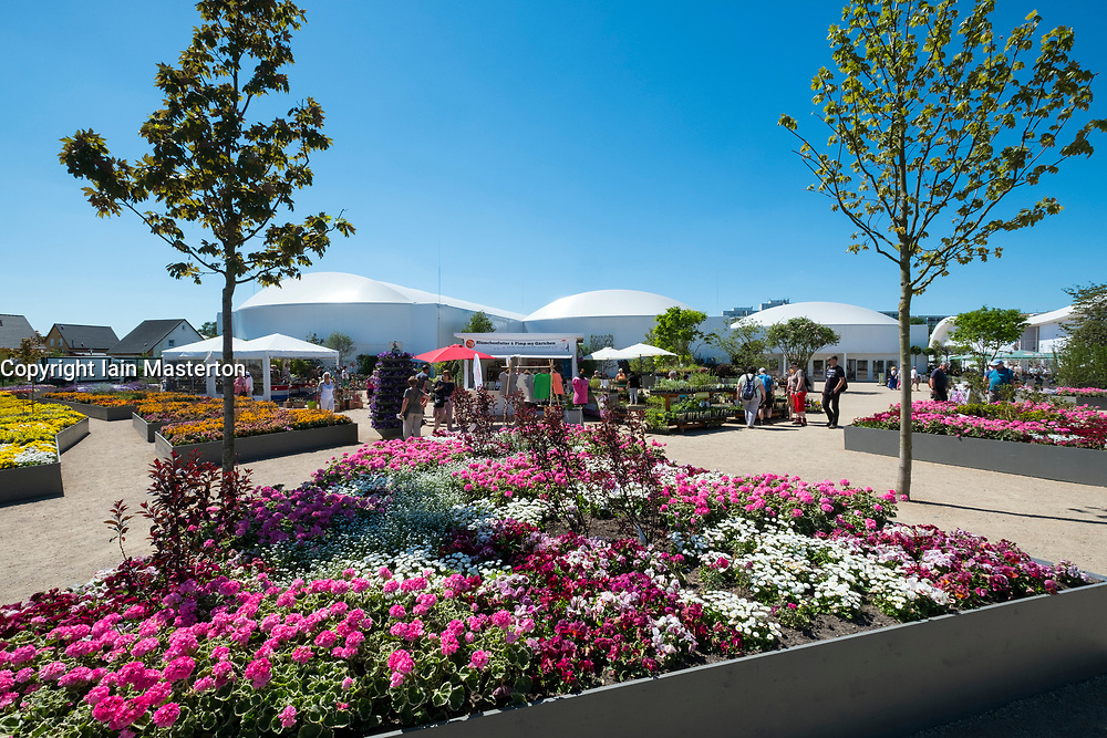 View of flower halls art IGA 2017 International Garden Festival (International Garten Ausstellung) in Berlin, Germany