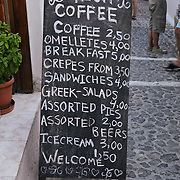 Cafe snack bar stand in Santorini