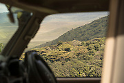 View through the window from a 4x4 safari car at the Ngorongoro Crater, Tanzania
