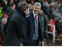 Football - 2017 / 2018 Europa League - Round of Thirty-Two, Second Leg: Arsenal (3) vs. Ostersunds FK (0)<br /> <br /> Arsenal Manager Arsene Wenger,jokes with Ostersunds Manager Graham Potter at The Emirates.<br /> <br /> COLORSPORT/ANDREW COWIE