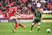 Charlton Athletic Midfielder Michal Zyro (27) takes a shot on goal during the EFL Sky Bet League 1 match between Charlton Athletic and Plymouth Argyle at The Valley, London, England on 24 March 2018. Picture by Stephen Wright.