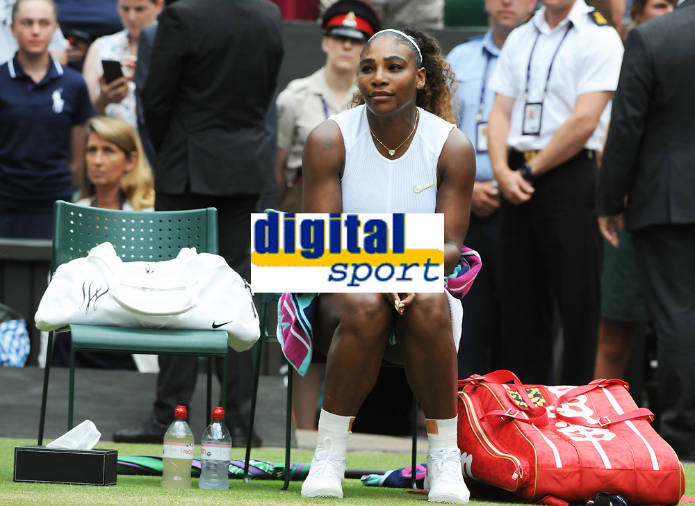Tennis - 2019 Wimbledon Championships - Week Two, Saturday (Day Twelve)<br /> <br /> Women's Singles, Final: Serena Williams (USA) vs. Simona Halep (ROU)<br /> <br /> Serena Williams has time to reflect in her seat after the match, on Centre Court.<br /> <br /> COLORSPORT/ANDREW COWIE
