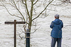 © Licensed to London News Pictures. 04/02/2021. London, UK. A man stands next to a flooded towpath in Chertsey, Surrey. Flooding in parts of Laleham and Chertsey in Surrey as rising flood water continues to rise around riverside properties in the area. The Uk is set to be battered by heavy rainfall, flooding and snow storms this weekend as the Met Office issue warnings that snow could hit most of the country in the coming days. Photo credit: Alex Lentati/LNP
