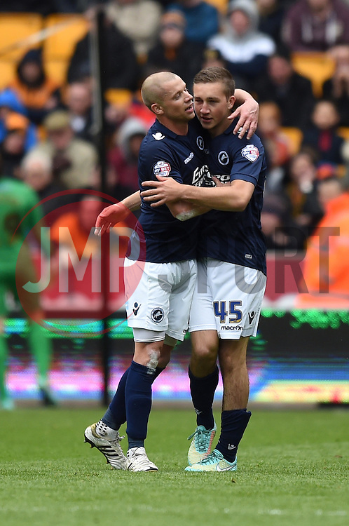 Millwall captain Alan Dunne congratulates Jamie Philpot on his debut goal - Photo mandatory by-line: Paul Knight/JMP - Mobile: 07966 386802 - 02/05/2015 - SPORT - Football - Wolverhampton - Molineux Stadium - Wolverhampton Wanderers v Millwall - Sky Bet Championship