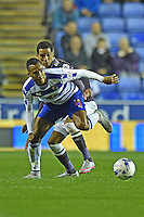 Derby County's Thomas Ince (L) battles with  Reading's Jordan Obita (R)<br /> <br /> Reading 0 - 1 Derby County <br /> <br /> Photographer David Horton/CameraSport<br /> <br /> Football - The Football League Sky Bet Championship - Reading v Derby County - Tuesday 15th September 2015 - Madejski Stadium - Reading<br /> <br /> © CameraSport - 43 Linden Ave. Countesthorpe. Leicester. England. LE8 5PG - Tel: +44 (0) 116 277 4147 - admin@camerasport.com - www.camerasport.com