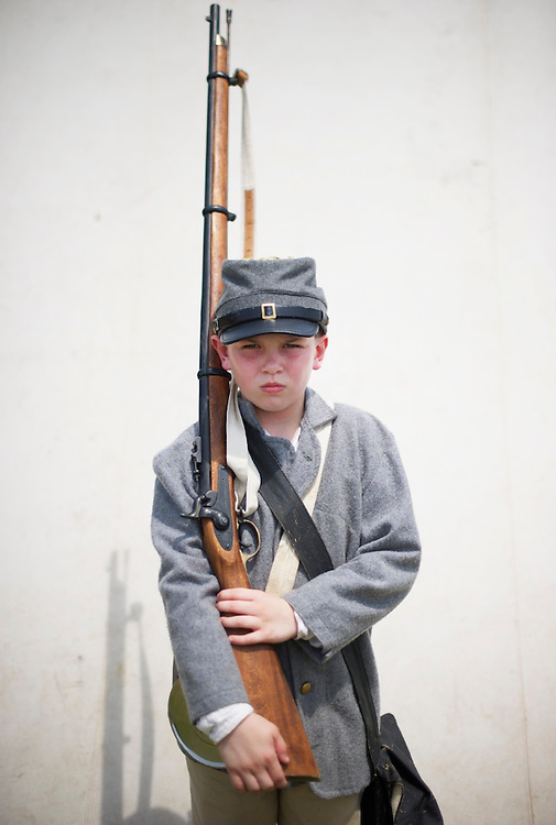 Ryan Sontag, 10, poses for a portrait during the 149th Gettysburg Reenactment in Gettysburg, Pennsylvania on July 7, 2012.