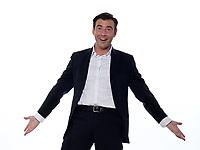 one happy joyful  caucasian friendly man studio portrait on white background