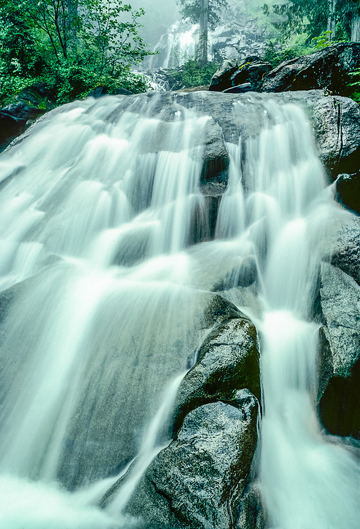 Waterfall near the outlet of Cooper Lake, summer, Alpine Lakes Wilderness, Cascade Mountains, Washington, USA