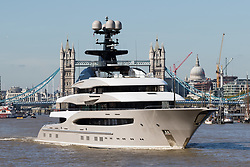 © Licensed to London News Pictures. 03/10/2016. LONDON, UK. The Super-yacht Kismet on the River Thames in London. Kismet is 308 feet long and is owned by Pakistani-American billionaire Shahid Khan, who has reportedly made an £800 million bid to buy Wembley Stadium. Photo credit: Vickie Flores/LNP