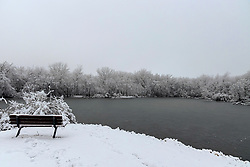 04 January 2021: Winter scenes captured after the 2021 New Years Day ice storm and subsequent snow on Central Illinois<br /> <br /> Heyworth Centennial Park