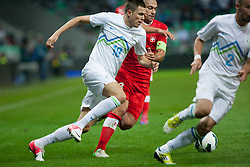 Josip Ilicic of Slovenia vs Gökhan Inler of Switzerland during qualification football match for World Cup 2014 in Brazil between national team of Slovenia and Switzerland, on September 7, 2012 in Ljubljana, Slovenia. (Photo by Matic Klansek Velej / Sportida.com)