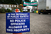 A sign put up by anti-fracking activists near the entrance to  Quadrillas drill site in New Preston Road, July 01 2017, Lancashire, United Kingdom.No police officers allowed on this property which belongs to a local anti fracking activist.  Lancashire voted against permitting fracking but was over ruled by the conservative central Government. Fracking is a highly contested way of extracting gas, it is risky to extract and damaging to the environment and is banned in parts of Europe . Lancashire has in the past experienced earth quakes blamed on fracking.