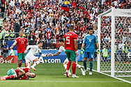 Cristiano Ronaldo of Portugal scores a goal during the 2018 FIFA World Cup Russia, Group B football match between Portugal and Morocco on June 20, 2018 at Luzhniki stadium in Moscow, Russia - Photo Thiago Bernardes / FramePhoto / ProSportsImages / DPPI