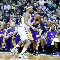 07 February 2013: Boston Celtics small forward Paul Pierce (34) defends on Los Angeles Lakers shooting guard Kobe Bryant (24) during the Boston Celtics 116-95 victory over the Los Angeles Lakers at the TD Garden, Boston, Massachusetts, USA.