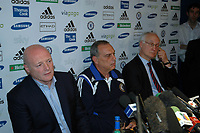 Photo: Tony Oudot.<br /> Chelsea Press Conference. 21/09/2007.<br /> Chelsea manager Avram Grant with Peter Kenyon and Bruce Buck