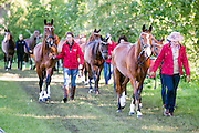 © Licensed to London News Pictures. 14/05/2014. Windsor, UK. People exercise horses on the opening day of The Royal Windsor Horse Show, set in the grounds of Windsor Castle. Established in 1943. Photo credit : Stephen Simpson/LNP